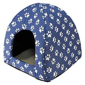 Niche igloo Empreintes blues 45 x 45 x 40 cm chien et chat