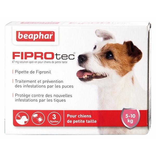 3 pipettes contre puces tiques pour chien 5 10 kg beaphar fiprotec marseille. Black Bedroom Furniture Sets. Home Design Ideas